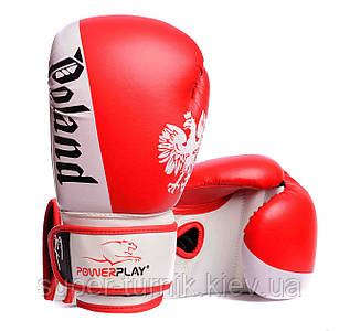 Боксерські рукавиці PowerPlay 3021-2 Poland Червоно-білі, 8 унцій