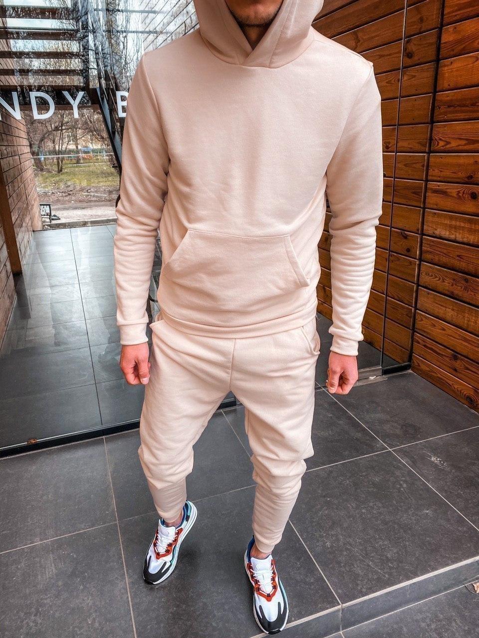😜 Спортивный костюм -Стильный мужской спортивный костюм бежевого цвета верх худи качество люкс