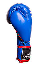 Боксерські рукавиці PowerPlay 3018 Сині 8 унцій, фото 3