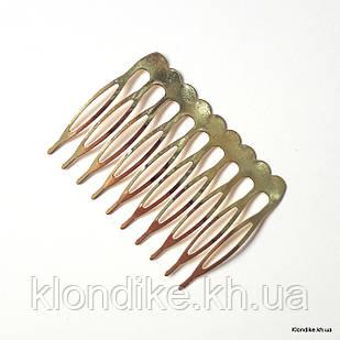 Гребень для волос, 5×4 см, Цвет: Золото