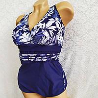 Слитный купальник, 66 размер (10XL). Утягивающий женский купальник, темно синий с белыми листьями по лифу