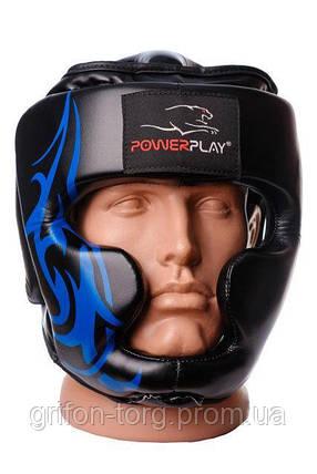 Боксерський шолом тренувальний PowerPlay 3048 Чорно-Синій XL, фото 2