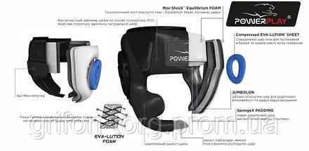 Боксерський шолом тренувальний PowerPlay 3048 Чорно-Синій XL, фото 3