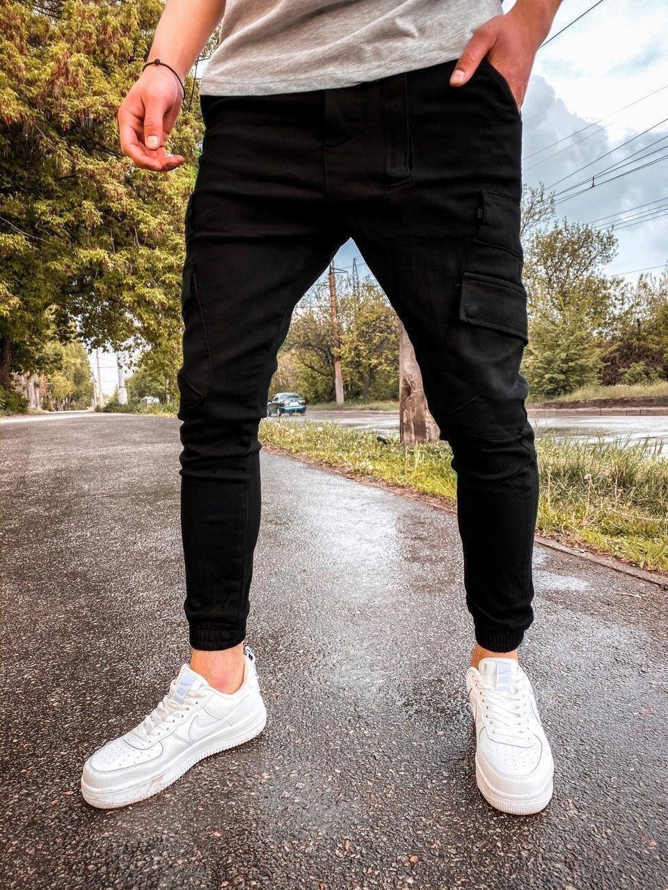 Джинси - чоловічі чорні джинси джогеры