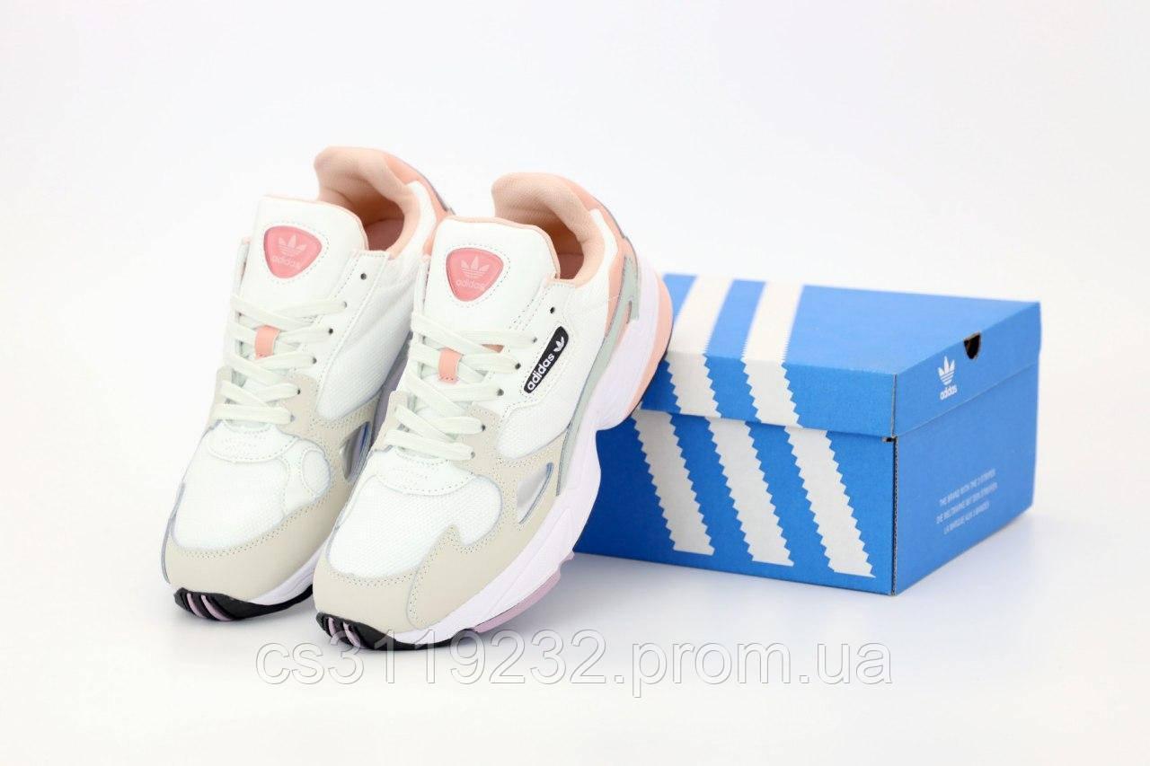 Женские кроссовки Adidas Falcon (розово-белые)