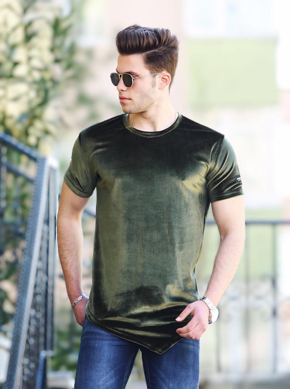 Мужская удлиненная замшевая футболка