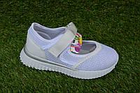 Детские спортивные туфли мокасины девочке на липучке белые р31-36