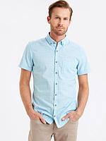 Голубая мужская рубашка LC Waikiki / ЛС Вайкики с коротким рукавом, в мелкую белую клетку