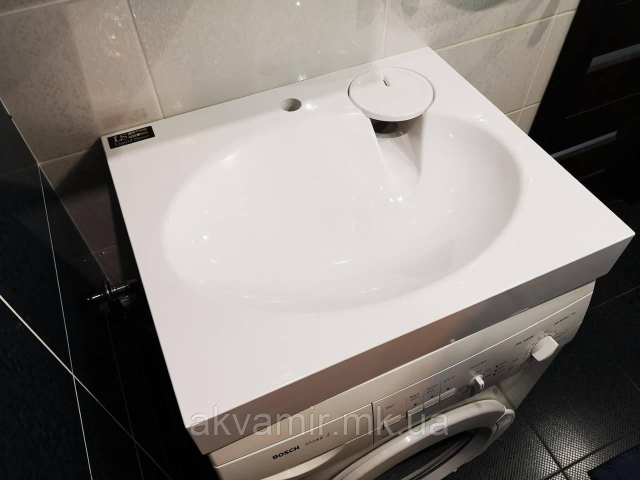 Раковина над стиральной машиной Claro мини 60х50 см (камень) белая