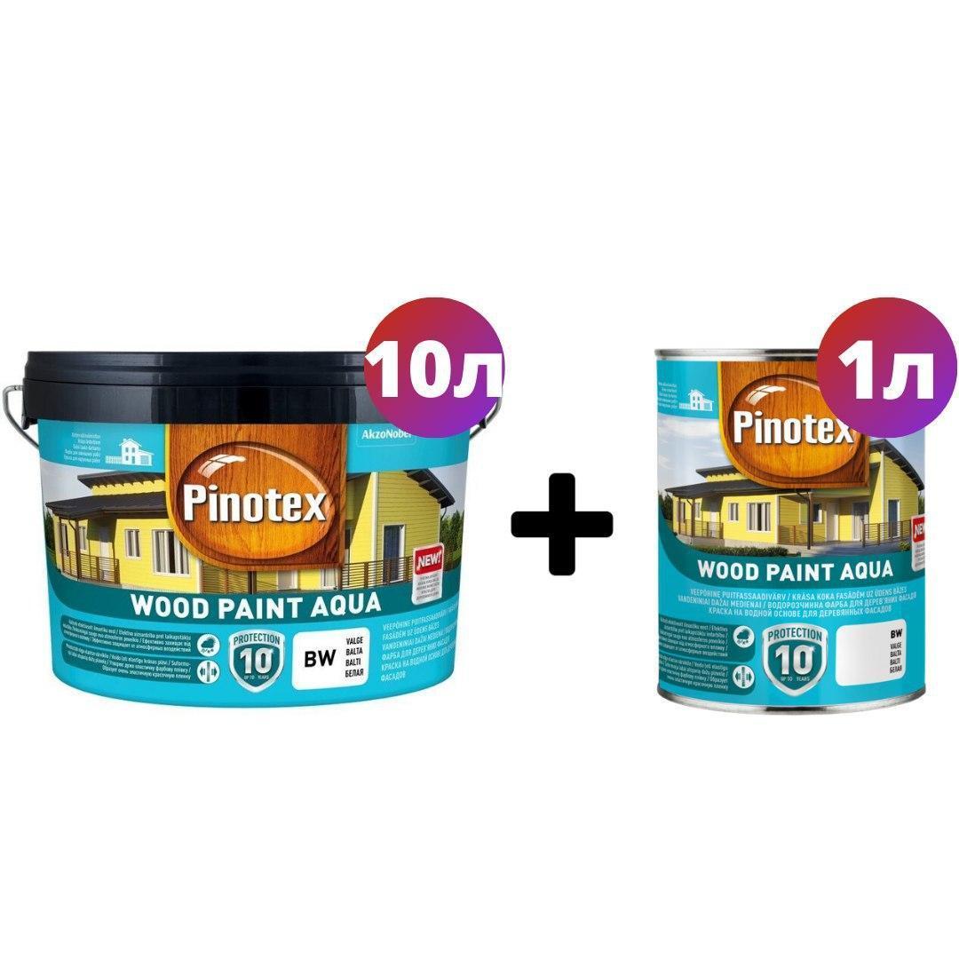 Краска на водной основе для деревянных фасадов Pinotex Wood Paint Aqua 9л