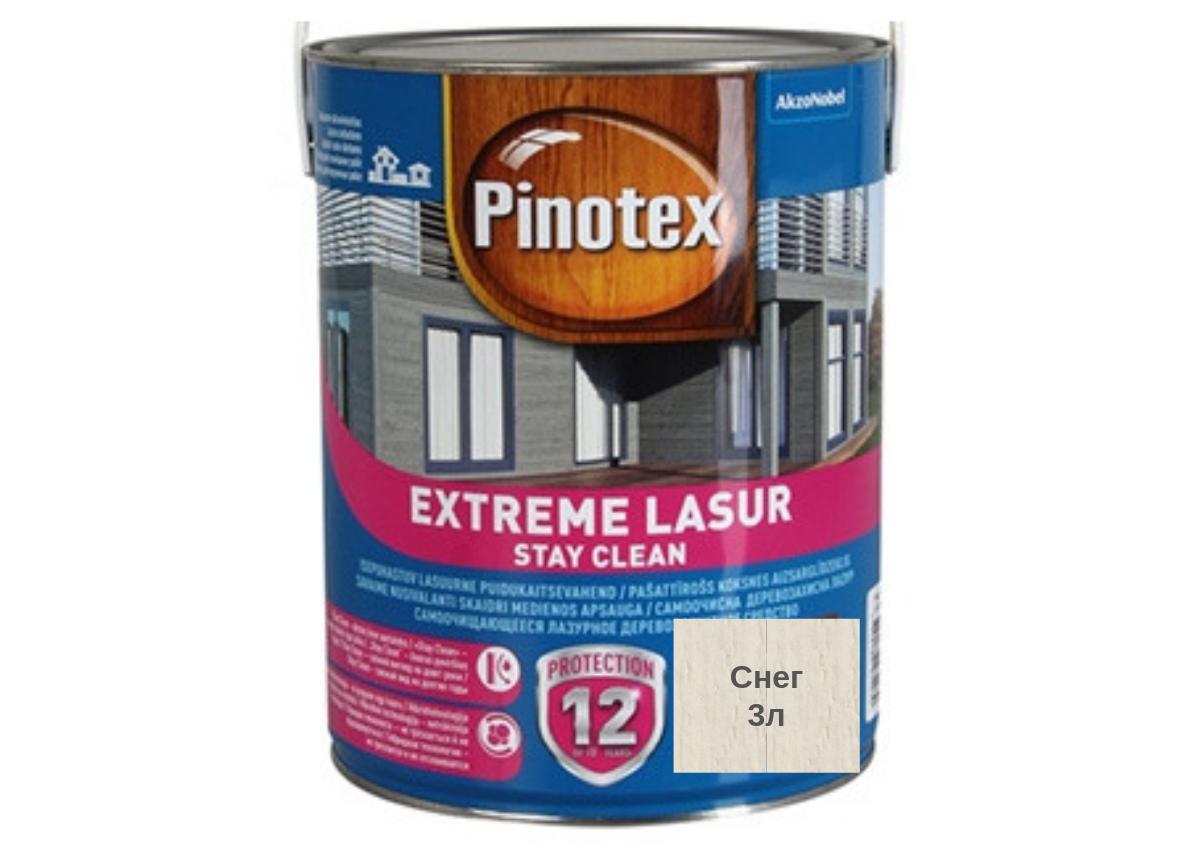 Самоочищающееся лазурное деревозащитное средство Pinotex Extreme Lasur 3л (Снег)