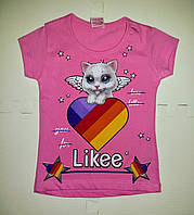 Розовая футболка для девочки хлопковая с модным принтом Likee в наличии только в 86 размере