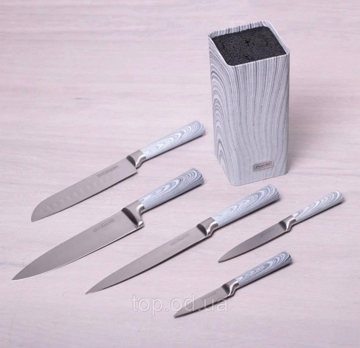 Набор ножей Kamille 6 предметов из нержавеющей стали в колоде