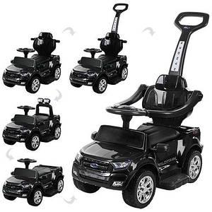 Детская машинка-толокар 2в1 M 3575EL-2 черная электромобиль
