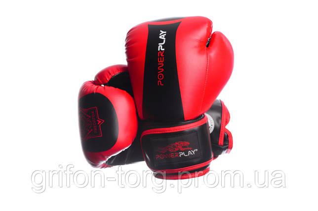 Боксерські рукавиці PowerPlay 3003 Червоно-Чорні 16 унцій, фото 2