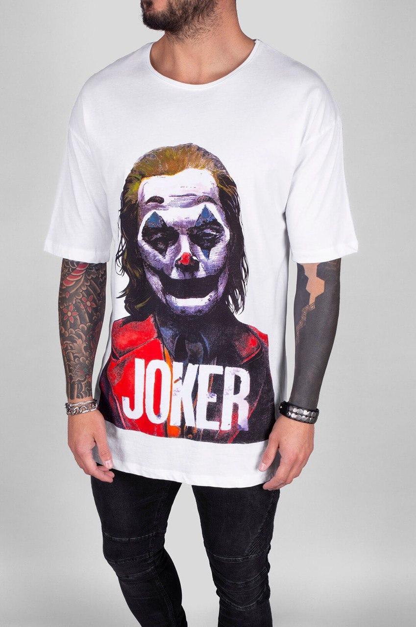 😜 Футболка - Мужская белая футболка Джокер