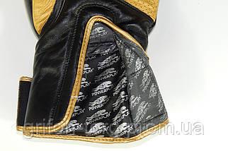 Боксерські рукавиці PowerPlay 3023 Чорно-Золоті [натуральна шкіра] 16 унцій, фото 2
