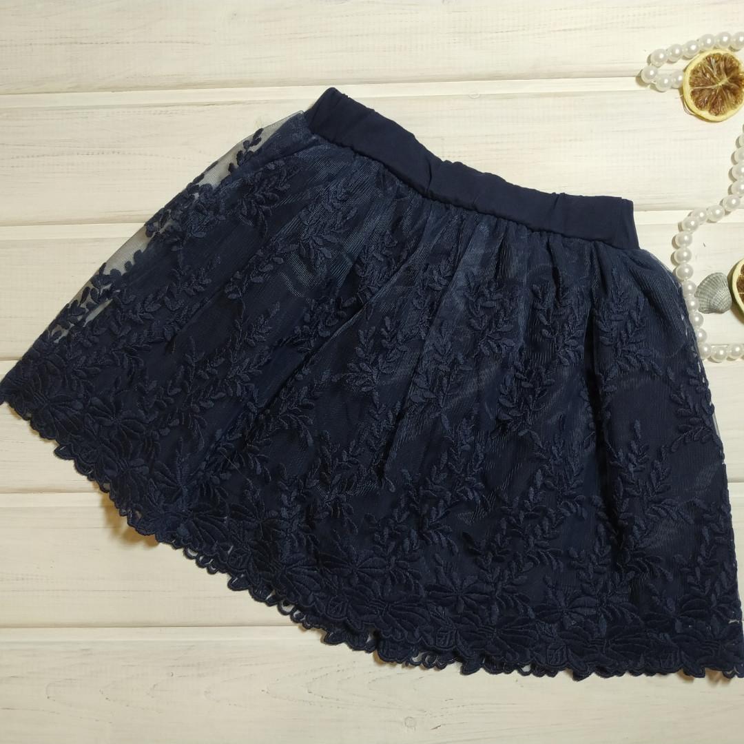 Юбка синяя для девочки с гипюром нарядная. размеры 92