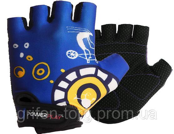 Велорукавички PowerPlay 001 C Сині XS, фото 2