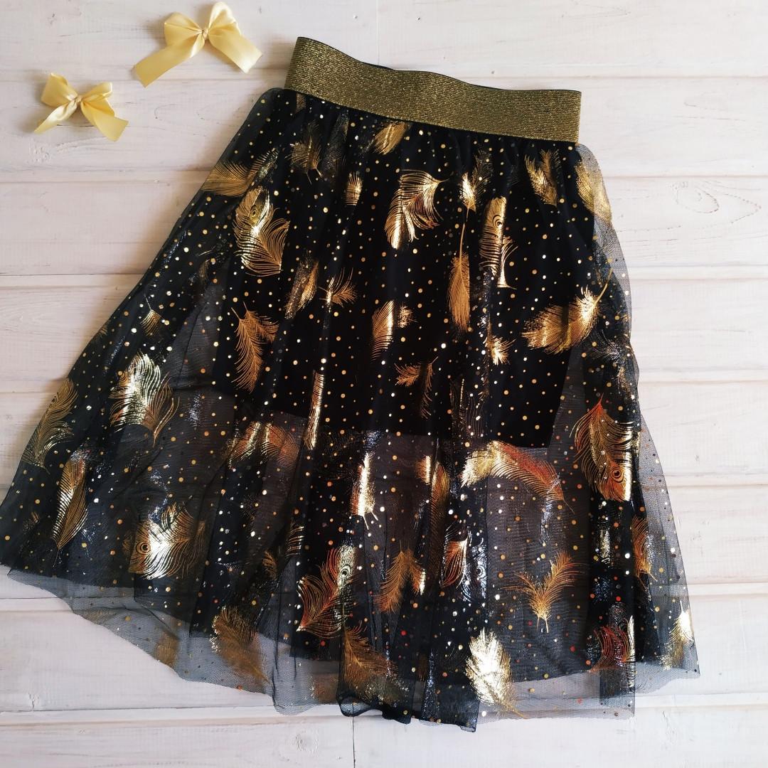 ✅Юбка нарядная для девочки черная с золотом  Размеры 140 164