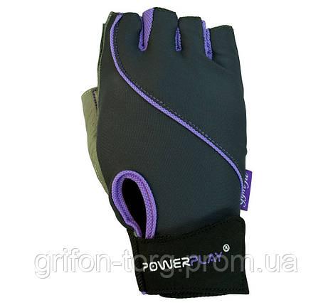Рукавички для фітнесу PowerPlay 1725 A жіночі Сіро-Фіолетові S, фото 2