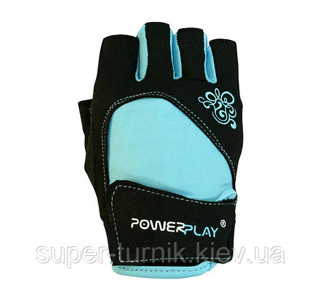Рукавички для фітнесу PowerPlay 1728 A жіночі Чорно-Блакитні S, фото 2