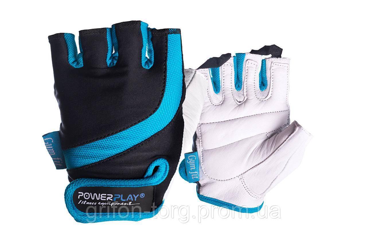 Рукавички для фітнесу PowerPlay 2311 жіночі Чорно-Блакитні XS
