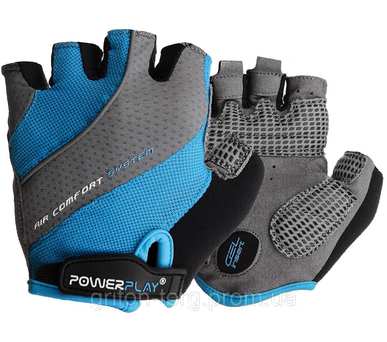 Велорукавички PowerPlay 5023 Блакитні M