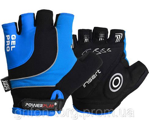 Велорукавички PowerPlay 5015 D Сині XS, фото 2