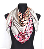 Шелковый платок Fashion Поцелуй 90*90 см по мотивам картины Климта серый