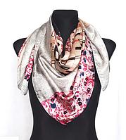 Шелковый платок Fashion Поцелуй 90*90 см по мотивам картины Климта серый, фото 1