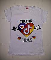Модная футболка для девочки хлопковая белая с принтом TikTok