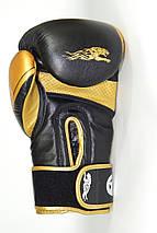 Боксерські рукавиці PowerPlay 3023 Чорно-Золоті [натуральна шкіра] 10 унцій, фото 3