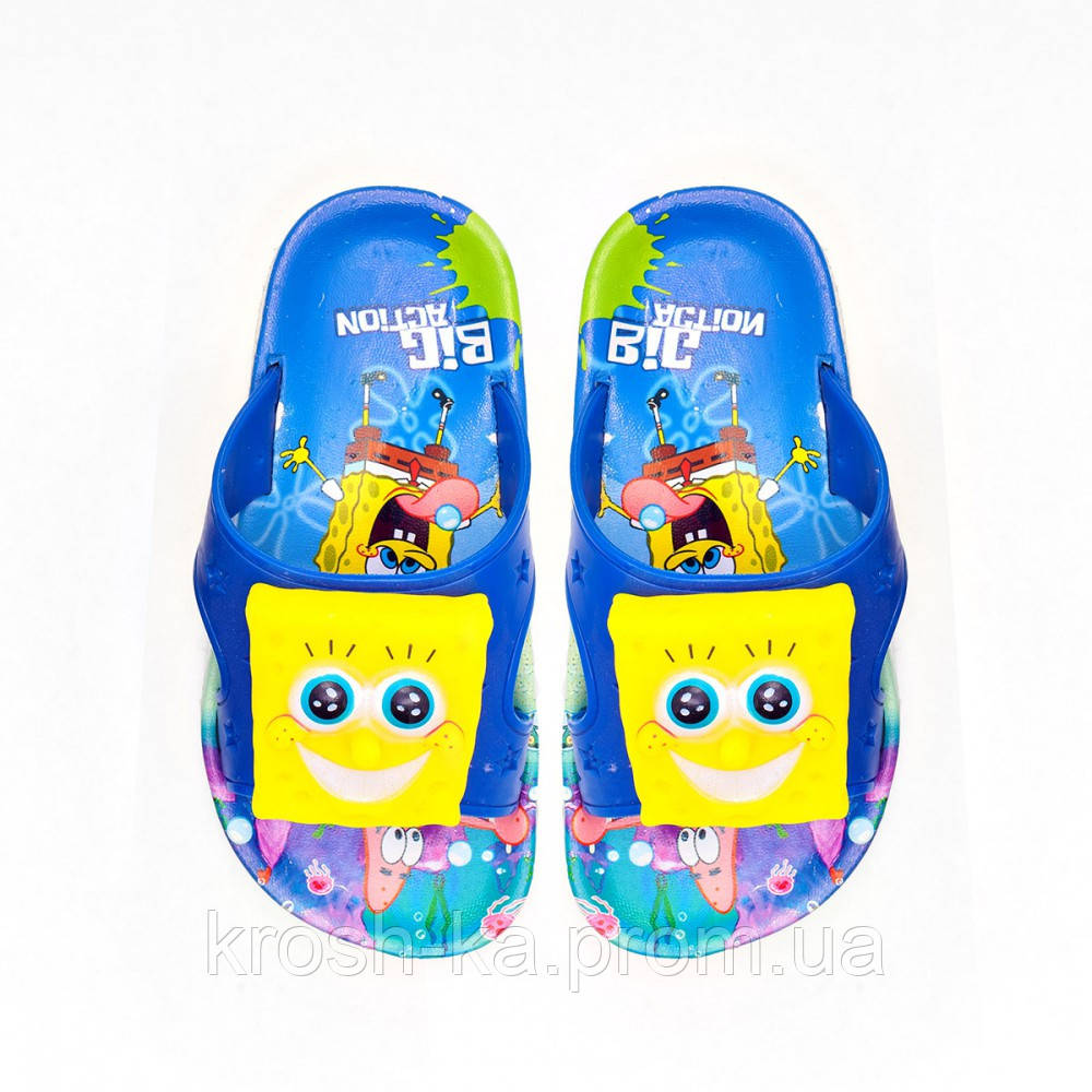 Шлёпанцы детские пляжные Губка Боб синие (25-32)р Украина CR001