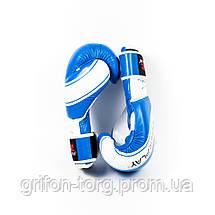 Боксерські рукавиці PowerPlay 3023 Синьо-Білі [натуральна шкіра] 12 унцій, фото 3