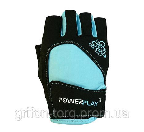 Рукавички для фітнесу PowerPlay 1728 A жіночі Чорно-Блакитні M, фото 2