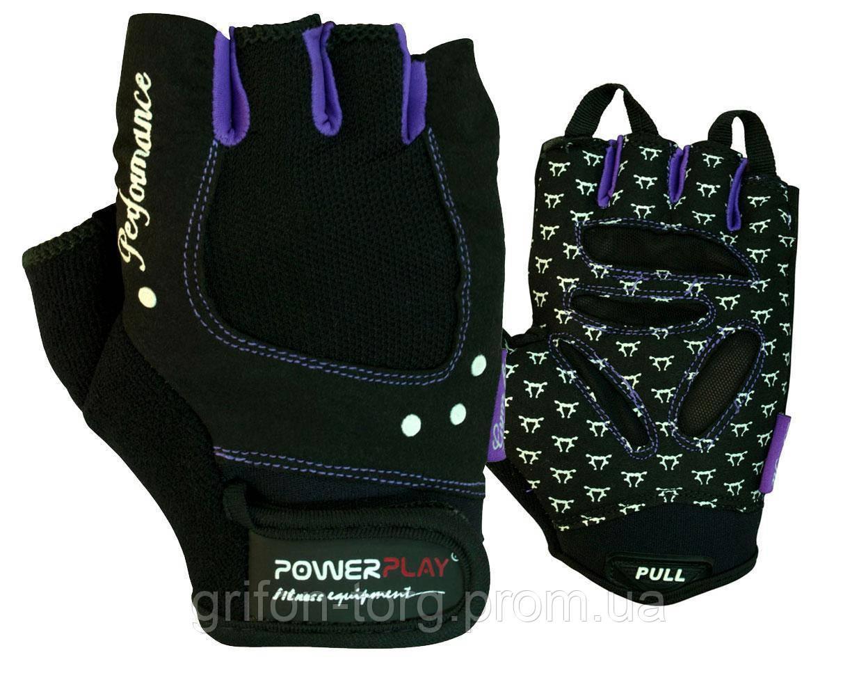 Рукавички для фітнесу PowerPlay 1751 жіночі Чорно-Фіолетові S