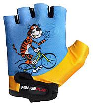 Велорукавички PowerPlay 5473 Синьо-жовті 4XS, фото 2