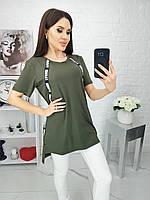 Стильная женская футболка хаки