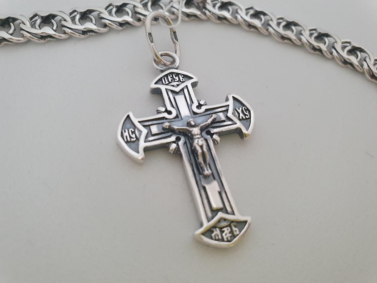 Серебряный православный крестик с распятием. Вес 7,7 гр. 925 проба