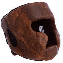 Шлем боксерский с полной защитой кожаный HAYABUSA KANPEKI VL-5781 (коричневый)