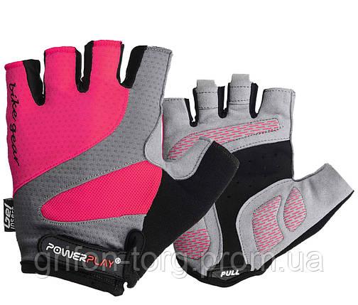 Велорукавички PowerPlay 5004 А Рожеві XS, фото 2