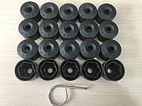 Декоративные черные колпачки для болтов на диски с надписью Volkswagen 17-го размера