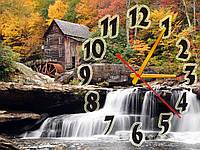 Часы настенные Дом у водопада 30х40 см