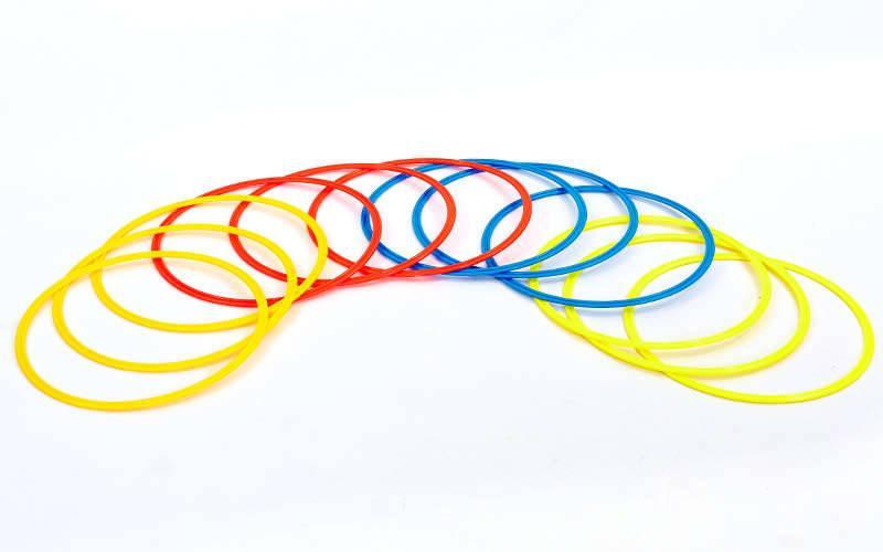 Кольца тренировочные в чехле C-6422-50 (пластик, d-50см, в комплекте 12шт, красный, желтый, синий, оранжевый)
