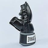 Перчатки для смешанных единоборств MMA PU EVERLAST HEVY BAG 4301SM (р-р S-M, черный-серый), фото 2