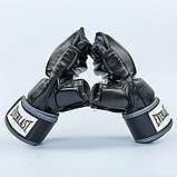 Перчатки для смешанных единоборств MMA PU EVERLAST HEVY BAG 4301SM (р-р S-M, черный-серый), фото 3