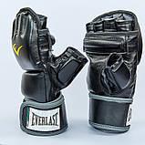 Перчатки для смешанных единоборств MMA PU EVERLAST HEVY BAG 4301SM (р-р S-M, черный-серый), фото 4