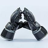 Перчатки для смешанных единоборств MMA PU EVERLAST HEVY BAG 4301SM (р-р S-M, черный-серый), фото 5