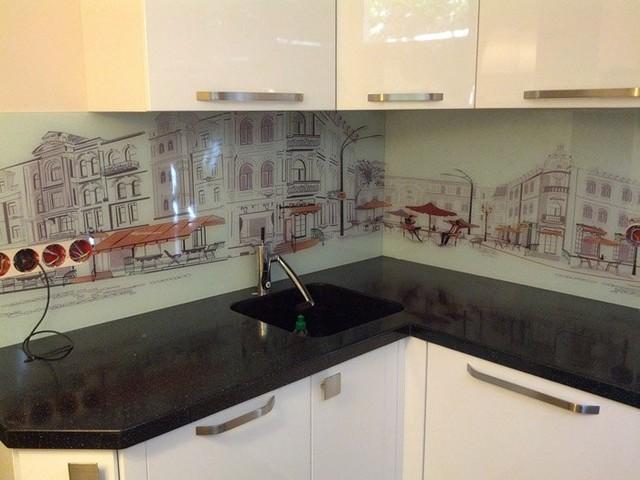 Скинали для кухни рисованный город купить в Днепропетровске